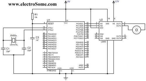 small resolution of interfacing dc motor with atmega32 microcontroller circuit diagram