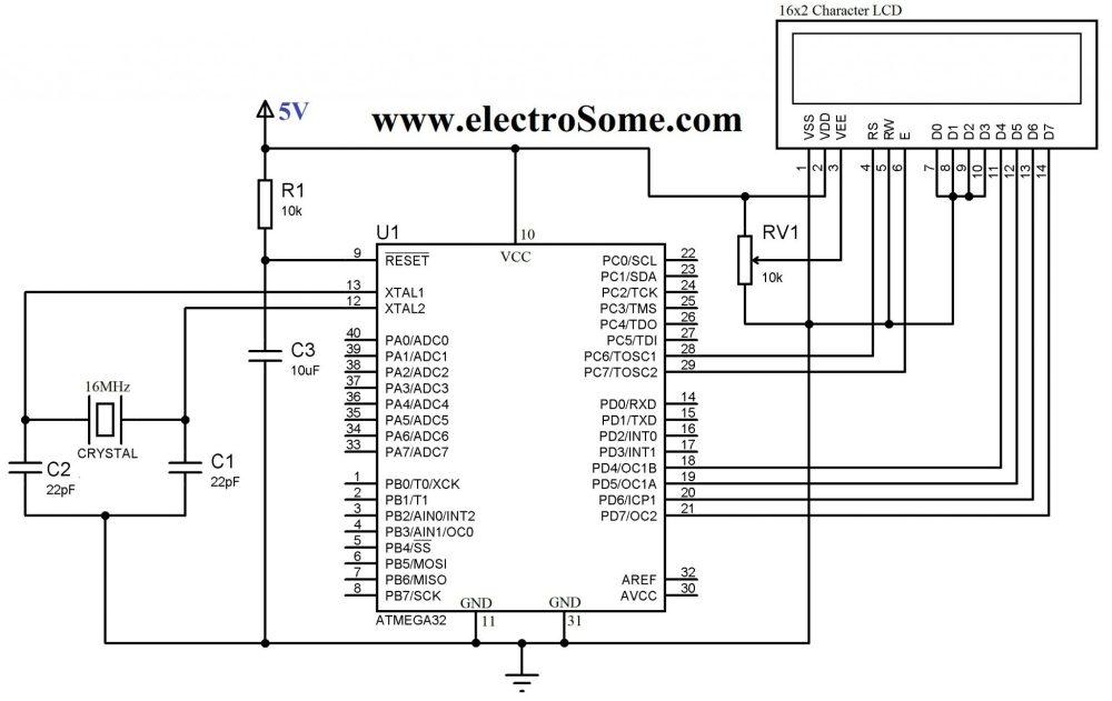 medium resolution of circuit diagram interfacing lcd with atmega32 microcontroller 4 bit mode