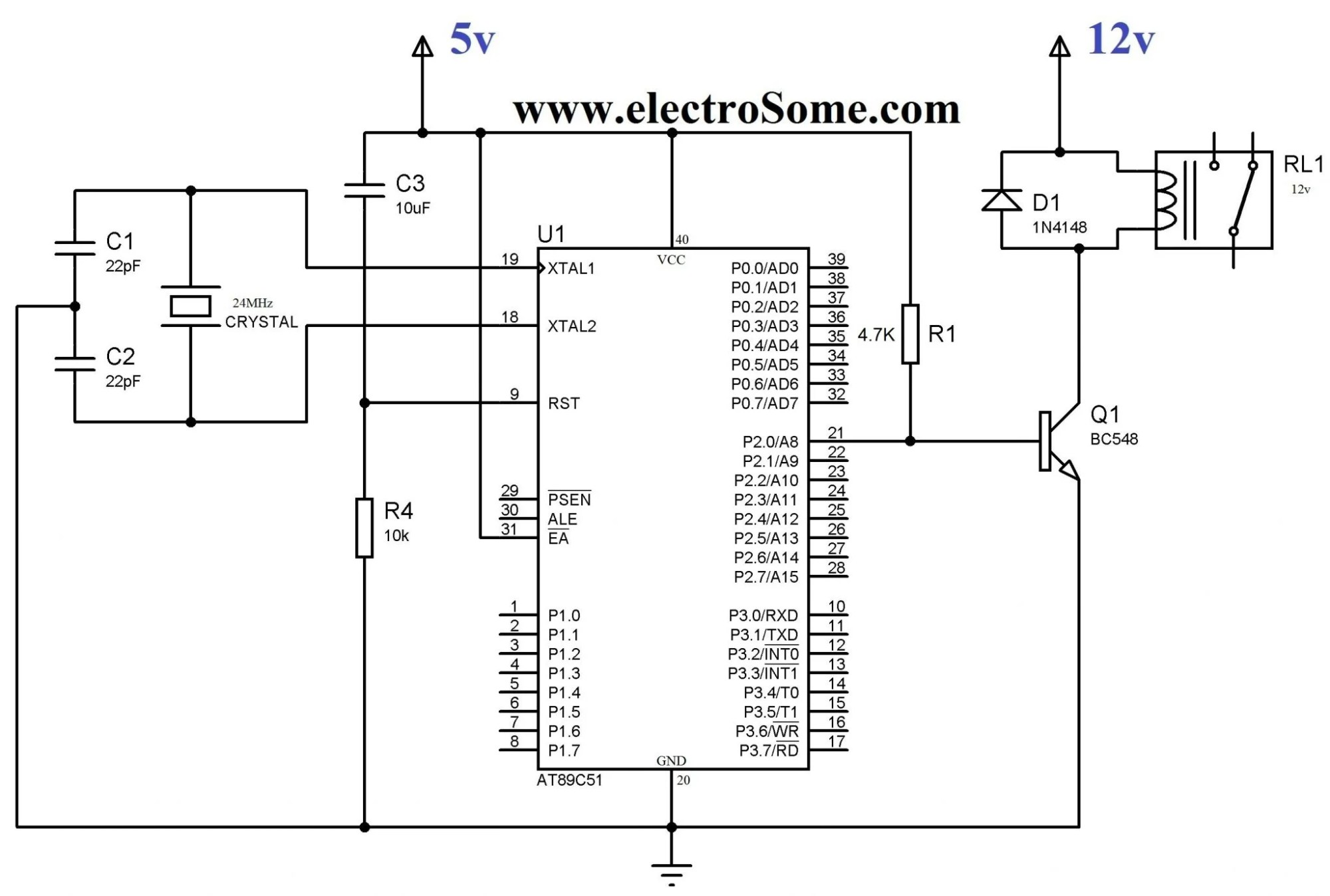 hight resolution of interfacing relay with 8051 using transistor circuit diagram