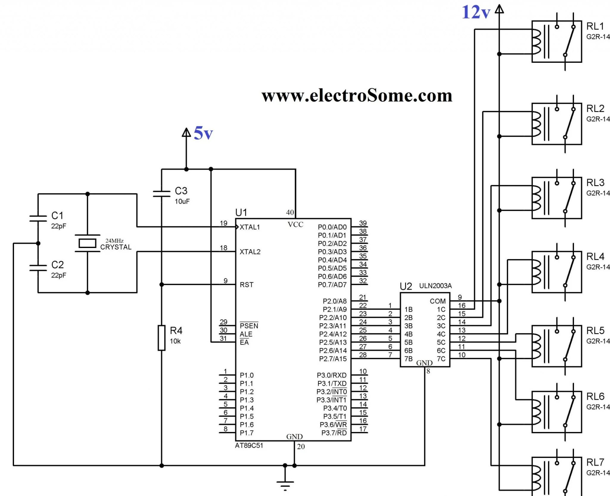 hight resolution of circuit diagram interfacing relay with 8051 using uln2003