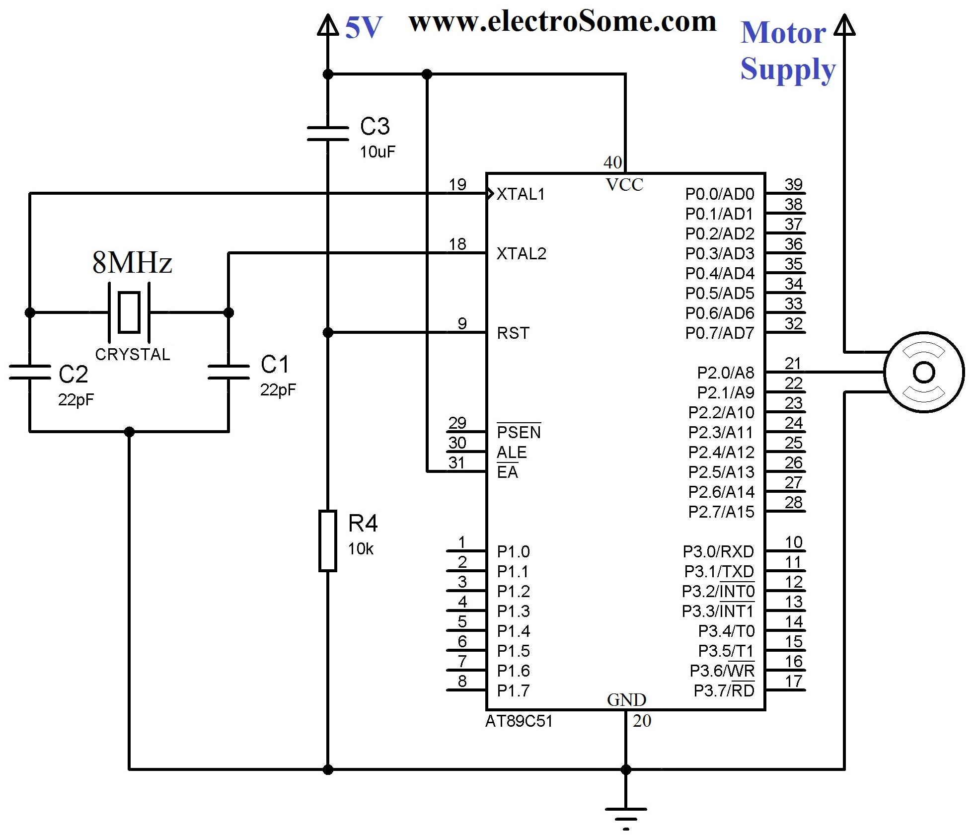 hight resolution of interfacing servo motor with 8051 circuit diagram