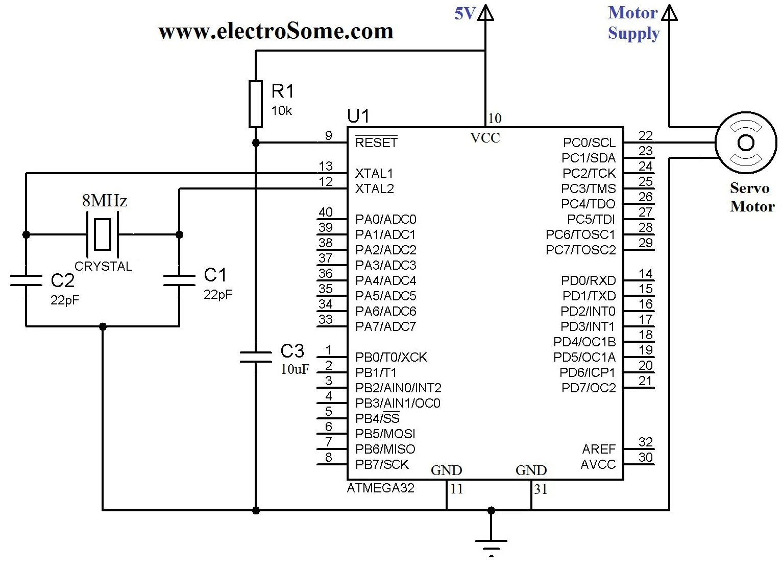 swm 32 wiring diagram contactor start stop interfacing servo motor with atmega32 atmel avr