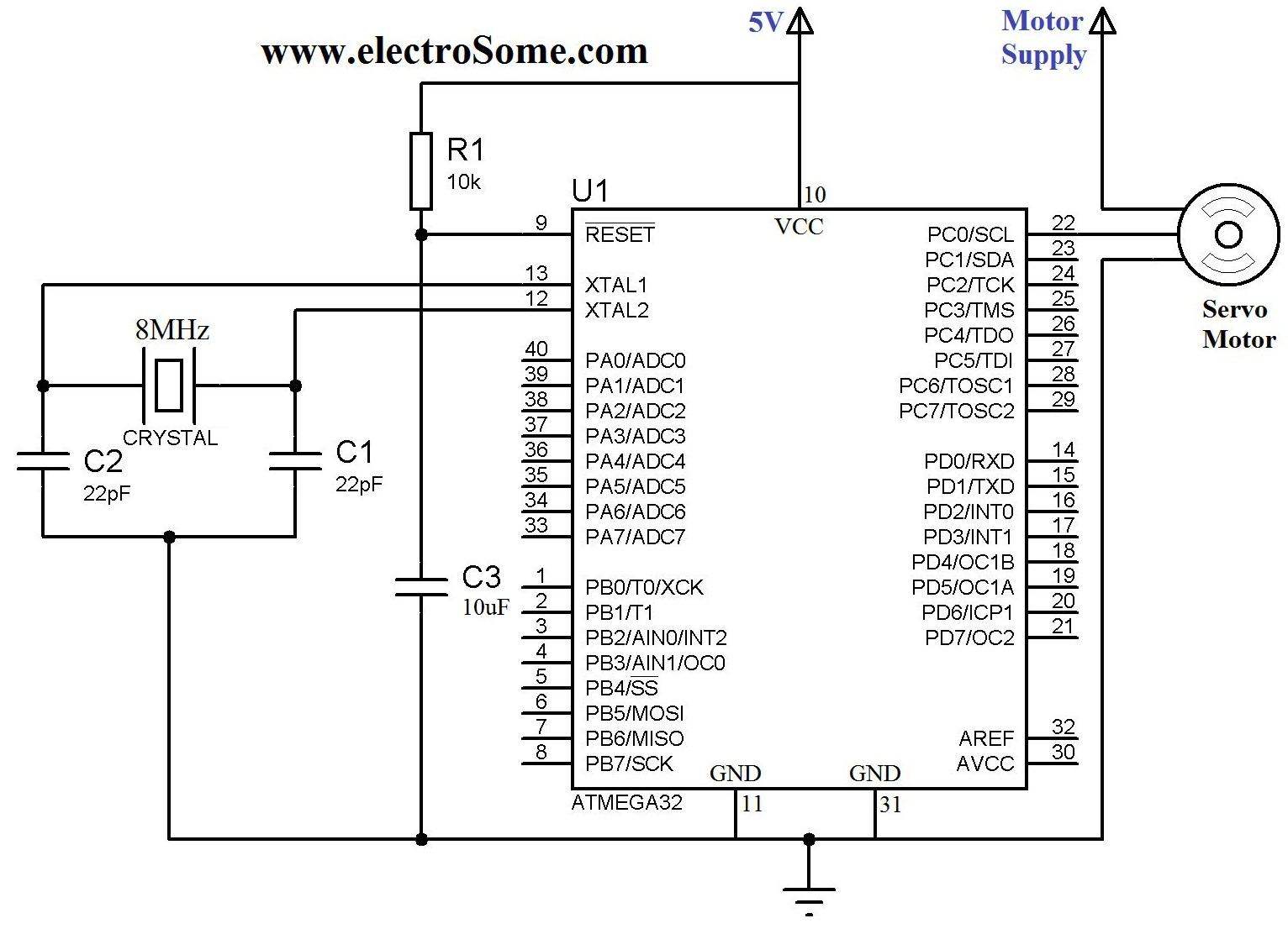 hight resolution of interfacing servo motor with atmega32 microcontroller circuit diagram
