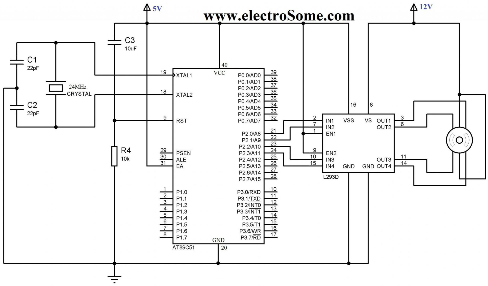 hight resolution of interfacing unipolar stepper motor with 8051 using l293d