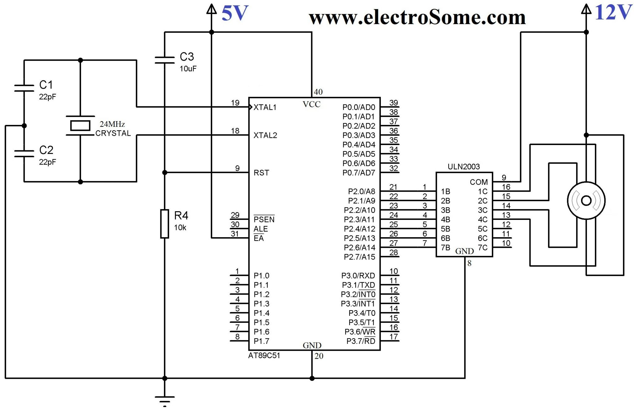 long s stepper motor wiring diagram how to make an energy level library interfacing unipolar with 8051 using uln2003