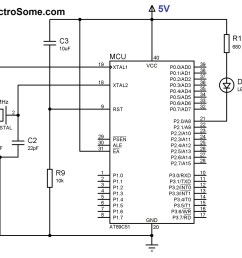 circuit diagram led blinking with 8051 microcontroller at89c51 [ 1982 x 1716 Pixel ]