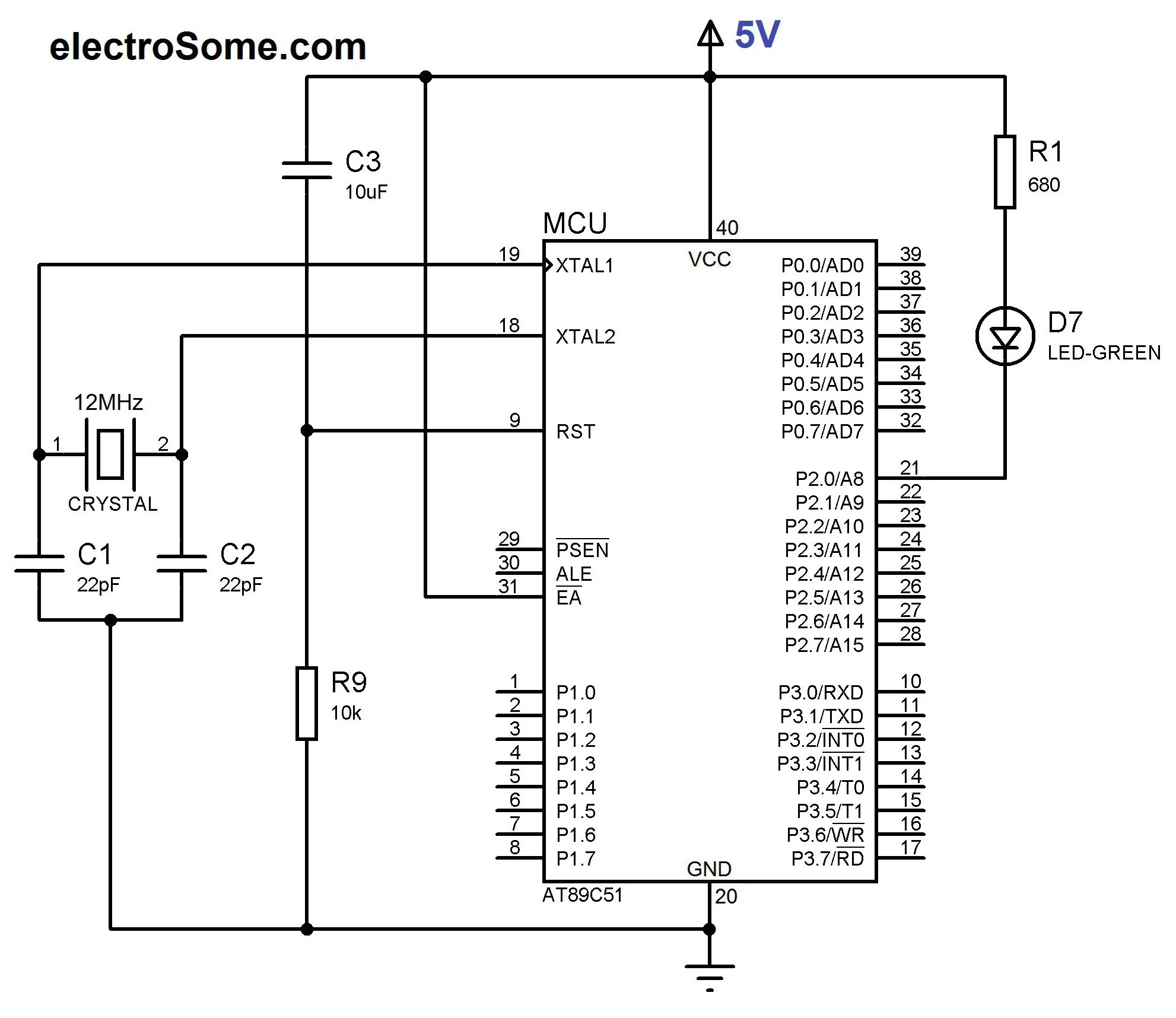 hight resolution of circuit diagram led blinking with 8051 microcontroller at89c51