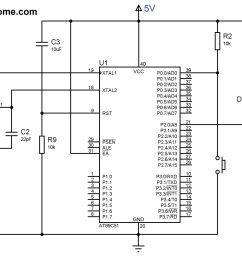 circuit diagram led and switch interfacing with at89c51 8051 microcontroller [ 2048 x 1563 Pixel ]