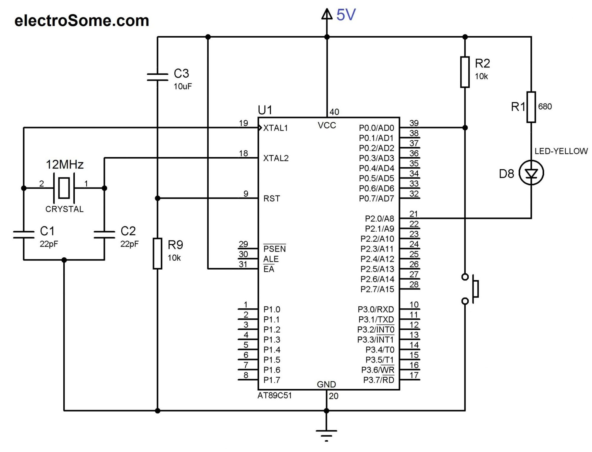 hight resolution of circuit diagram led and switch interfacing with at89c51 8051 microcontroller