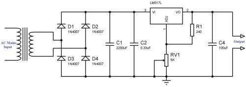 small resolution of simple variable power supply using lm317