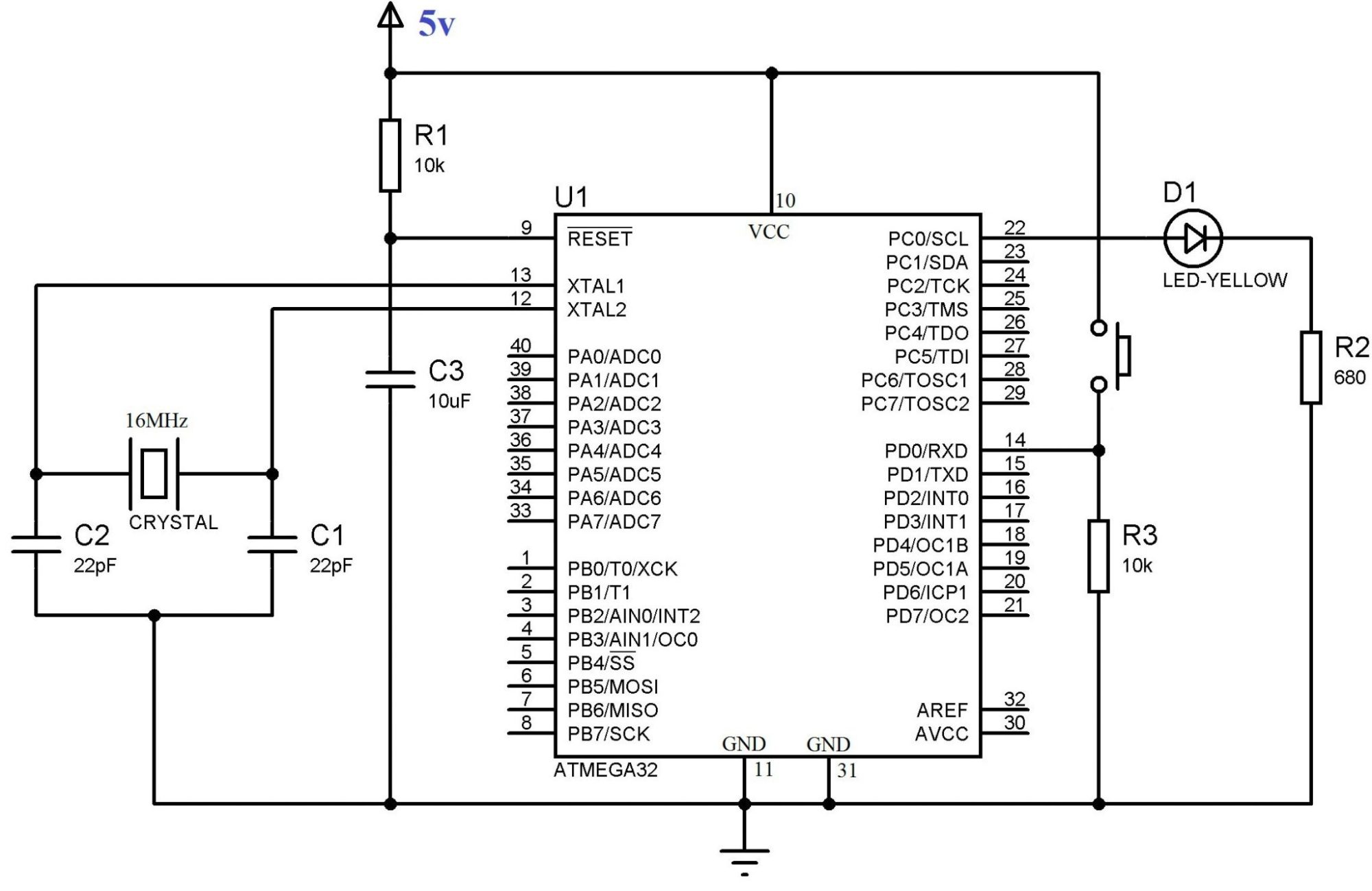 hight resolution of circuit diagram using push button switch with atmega32 using atmel studio