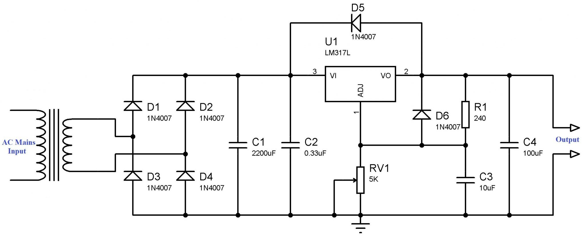 variable dc power supply schematic using lm317 voltage regulator