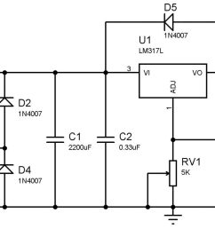 complete circuit diagram variable power supply using lm317 [ 2048 x 835 Pixel ]