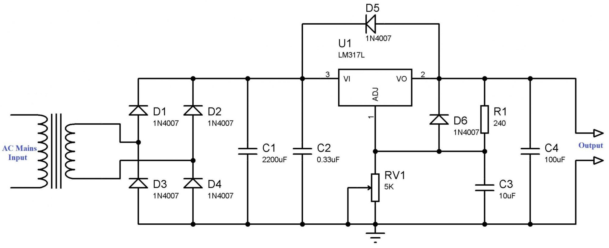 hight resolution of variable power supply using lm317 voltage regulator circuit diagram made by lm317 powersupplycircuit circuit diagram