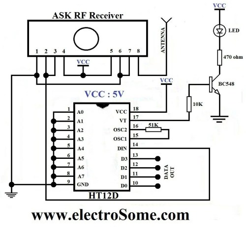 small resolution of wireless transmitter and receiver using ask rf module rf module transmitter and receiver circuit diagram receiver