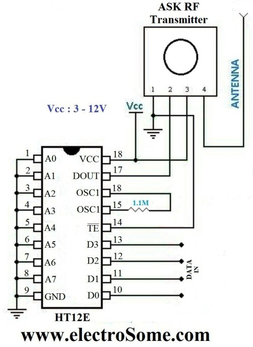 small resolution of wireless transmitter and receiver using ask rf module rf module circuit circuit diagram and layout modules