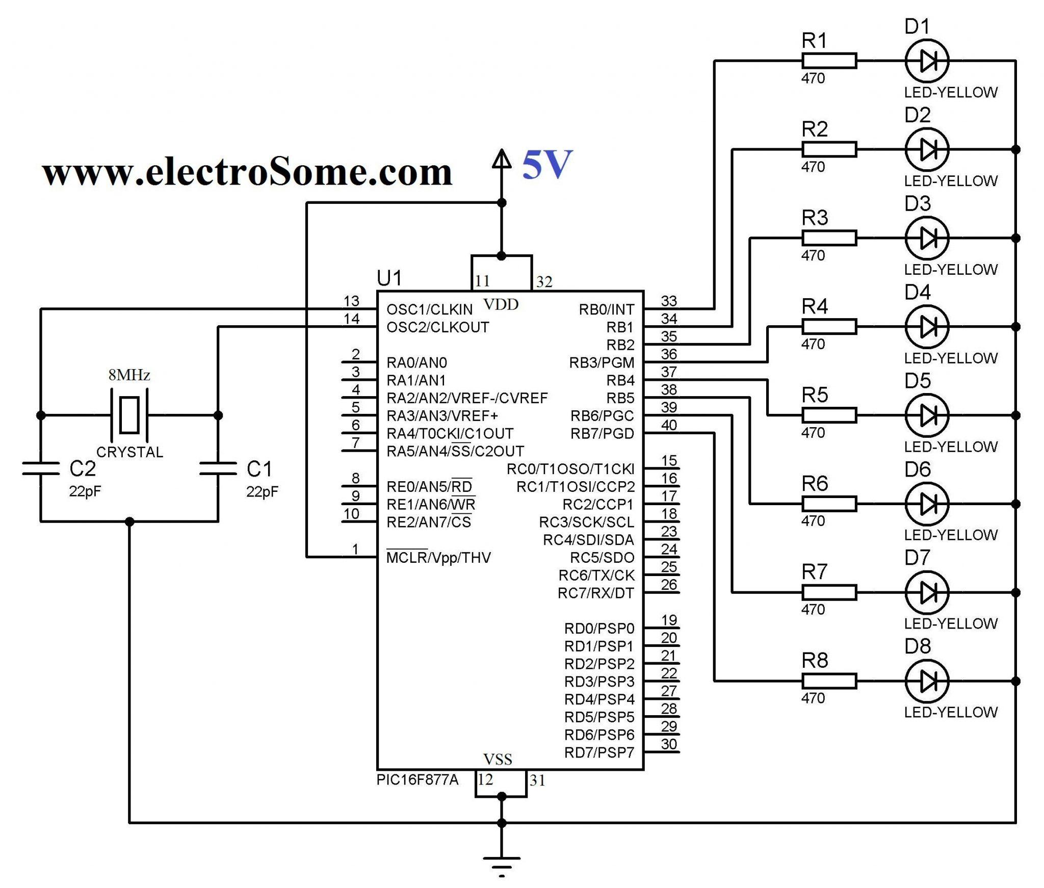 Blinking led using pic microcontroller circuit diagram