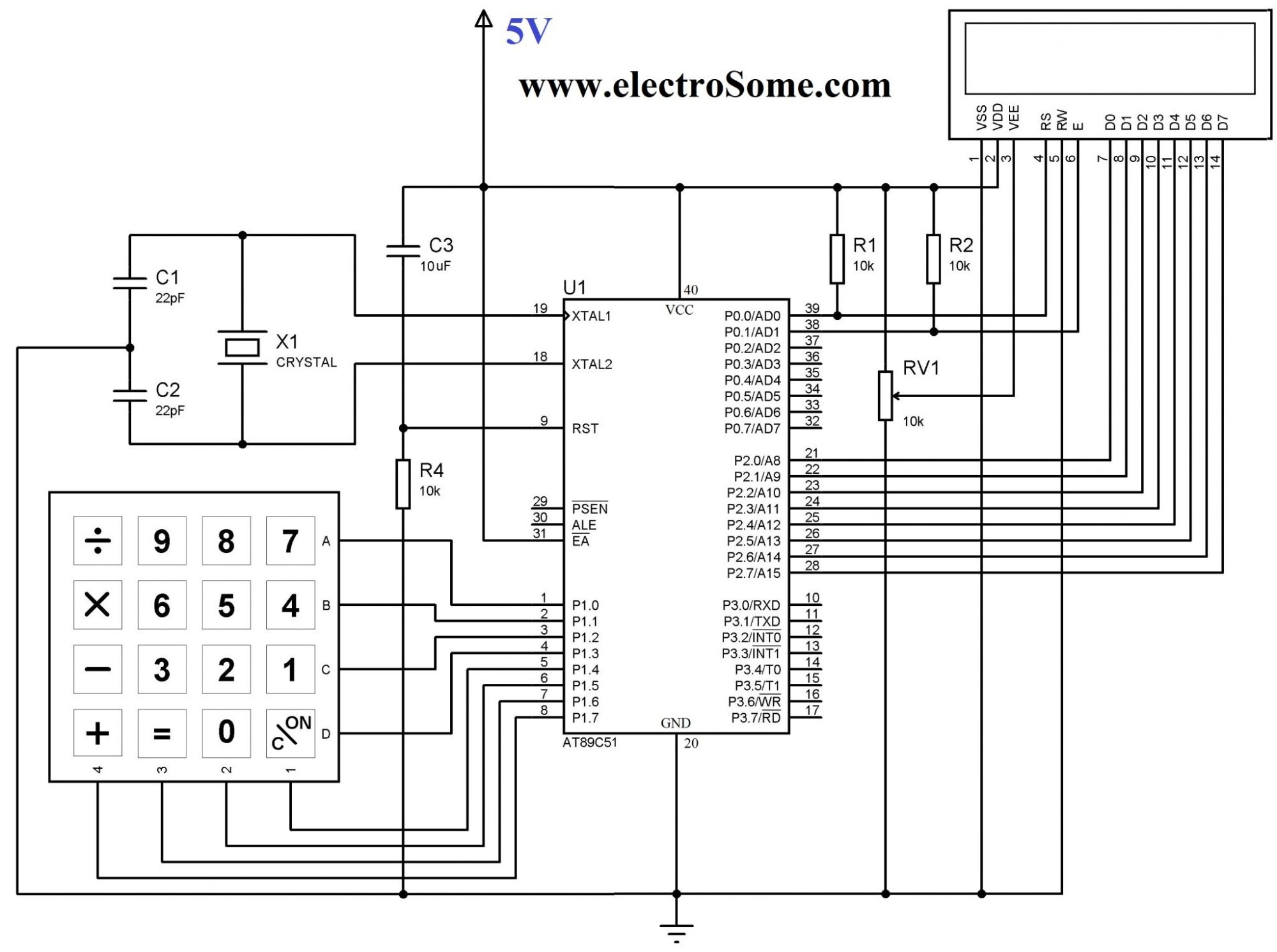 hight resolution of circuit diagram interfacing keypad with 8051 microcontroller using keil c