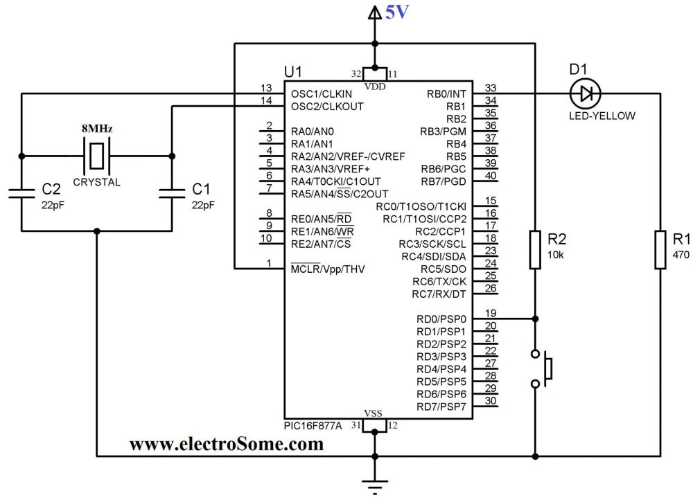 medium resolution of using push button switch with pic microcontroller mikroc delay box wiring diagram dedenbear delay box wiring diagram