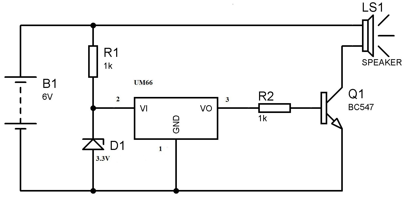 hight resolution of um66 melody generator circuit for beginners rh electrosome com doorbell chime schematic doorbell circuit diagram