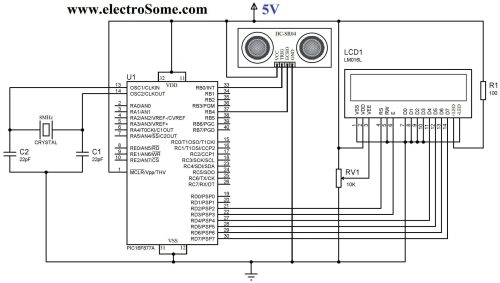 small resolution of circuit diagram interfacing hc sr04 ultrasonic distance sensor with pic microcontroller