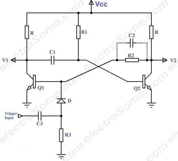 monostable multivibrator circuit diagram