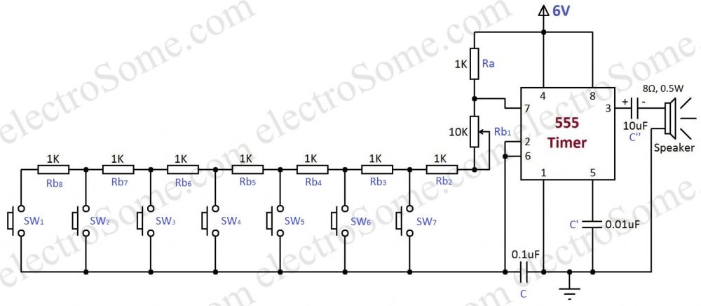 medium resolution of simple electronic toy piano using 555 timer