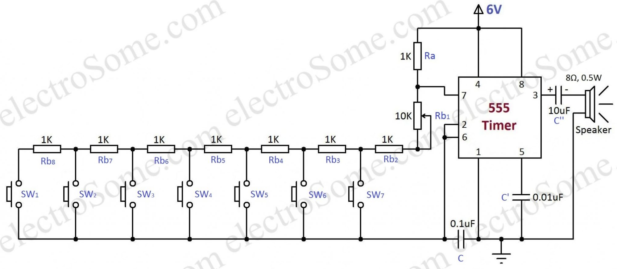 hight resolution of simple electronic toy piano using 555 timer