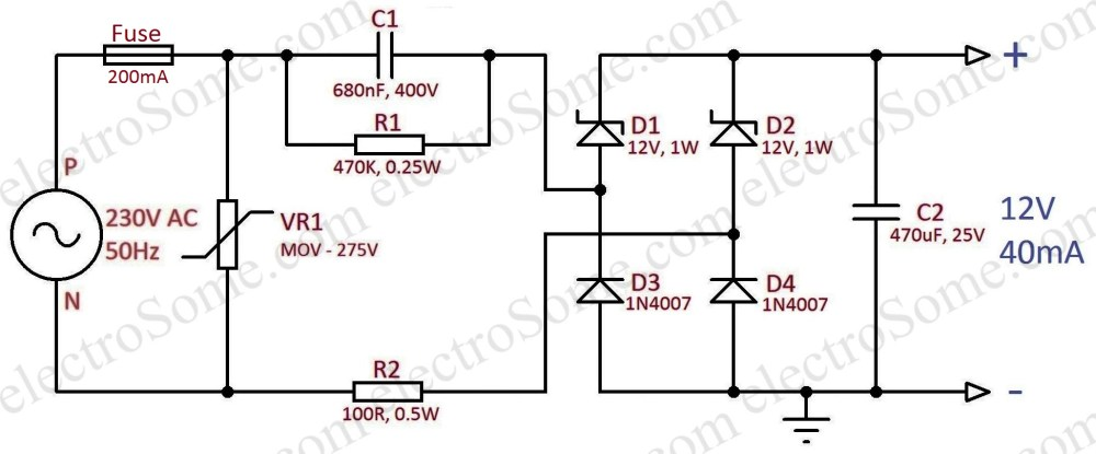 medium resolution of transformerless capacitor power supply 12v 40ma