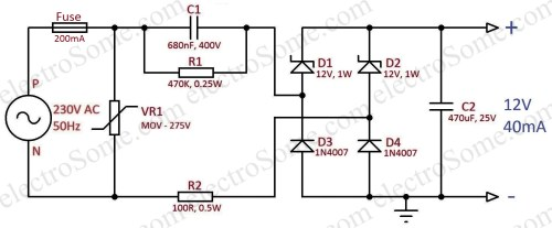 small resolution of transformerless capacitor power supply 12v 40ma