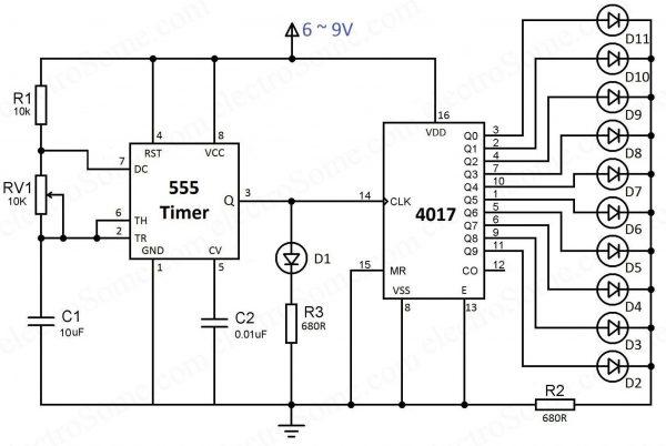 LED Chaser sử dụng 4017 Counter và 555 Timer