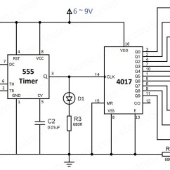 Dld Mini Projects Circuit Diagram Pioneer Car Radio Stereo Audio Wiring Led Chaser Using 4017 Counter And 555 Timer