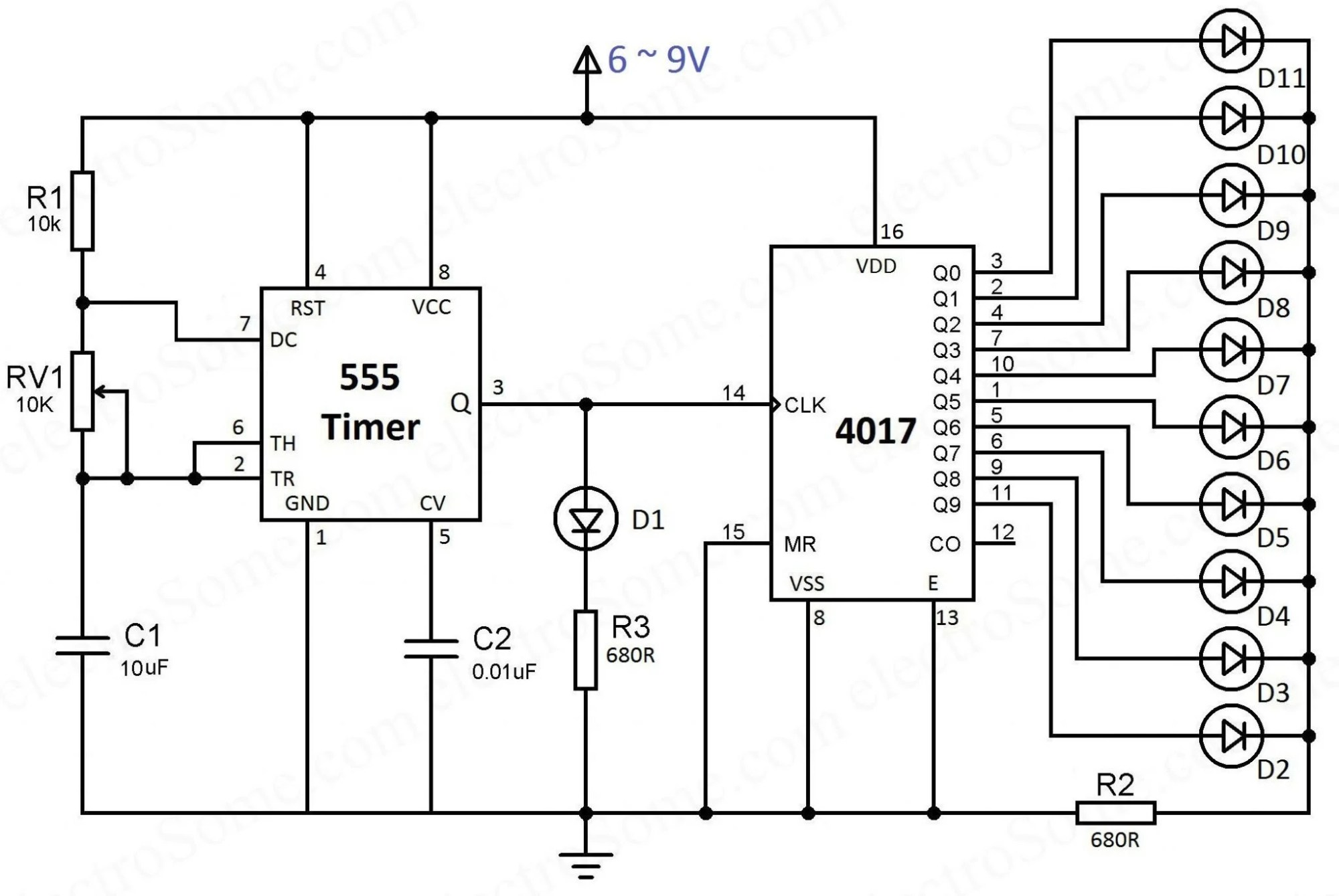 hight resolution of led chaser using 4017 counter and 555 timer wave inverter circuit diagram on decade counter circuit schematic