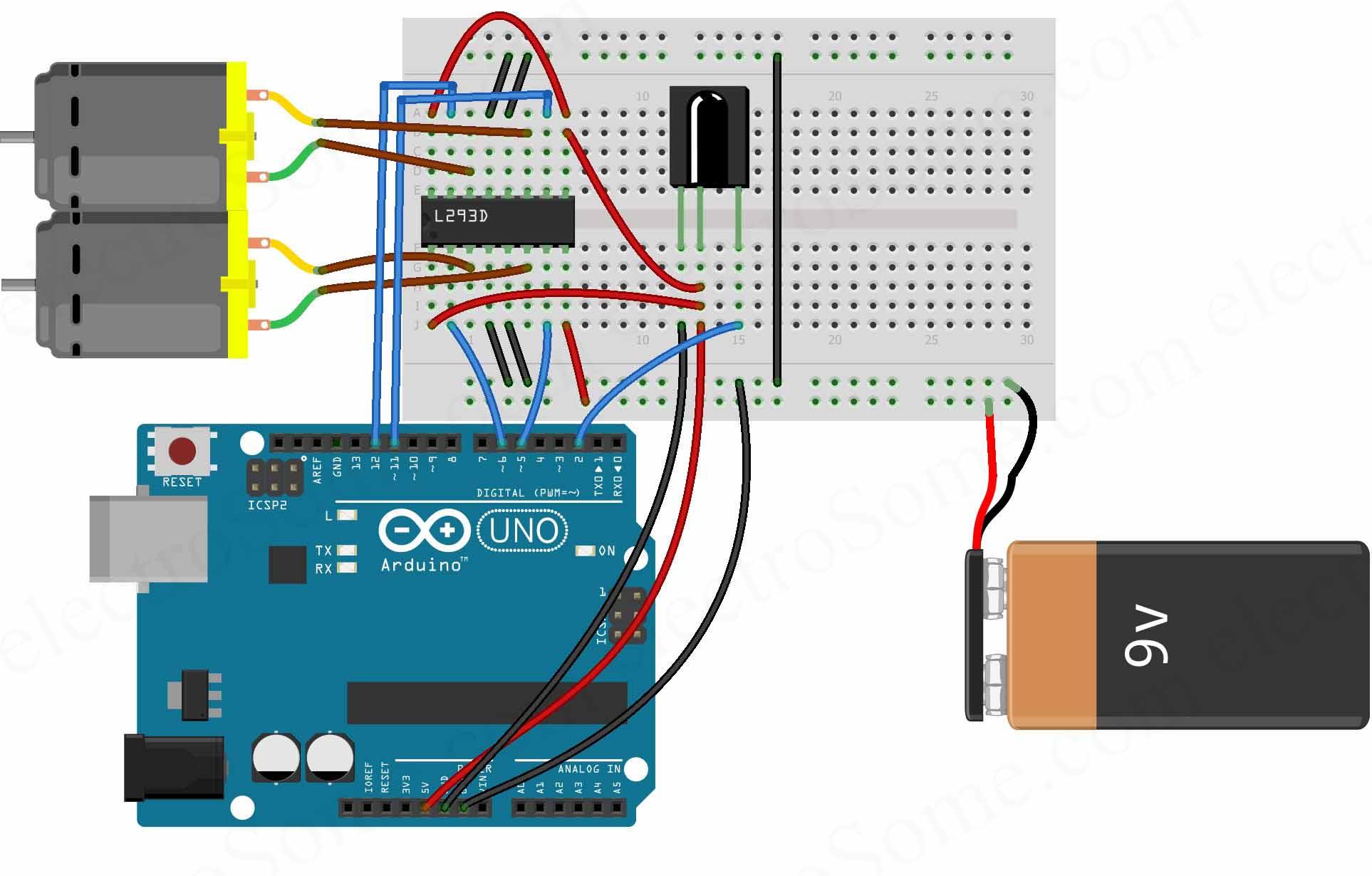 l293d motor driver circuit diagram 2007 saab 9 3 radio wiring controlling dc motors using arduino and ir remote