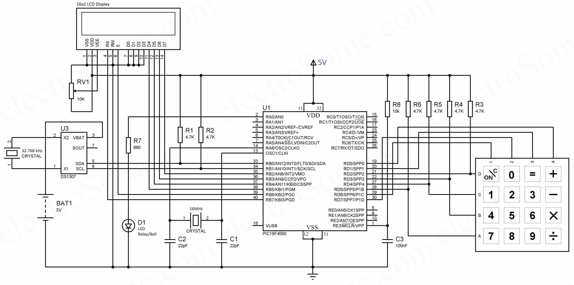 hight resolution of automatic college bell using microcontroller circuit diagram