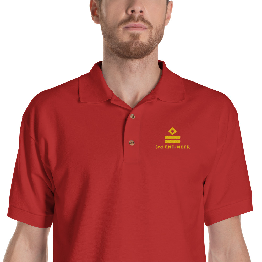 Ship Crew Polo Shirt with gold Embroidered 3rd Engineer rank