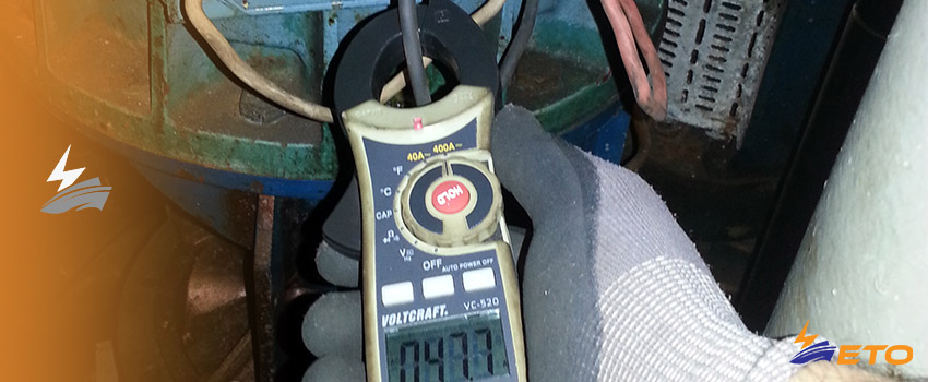 Using current clamp meter on ship electrical system