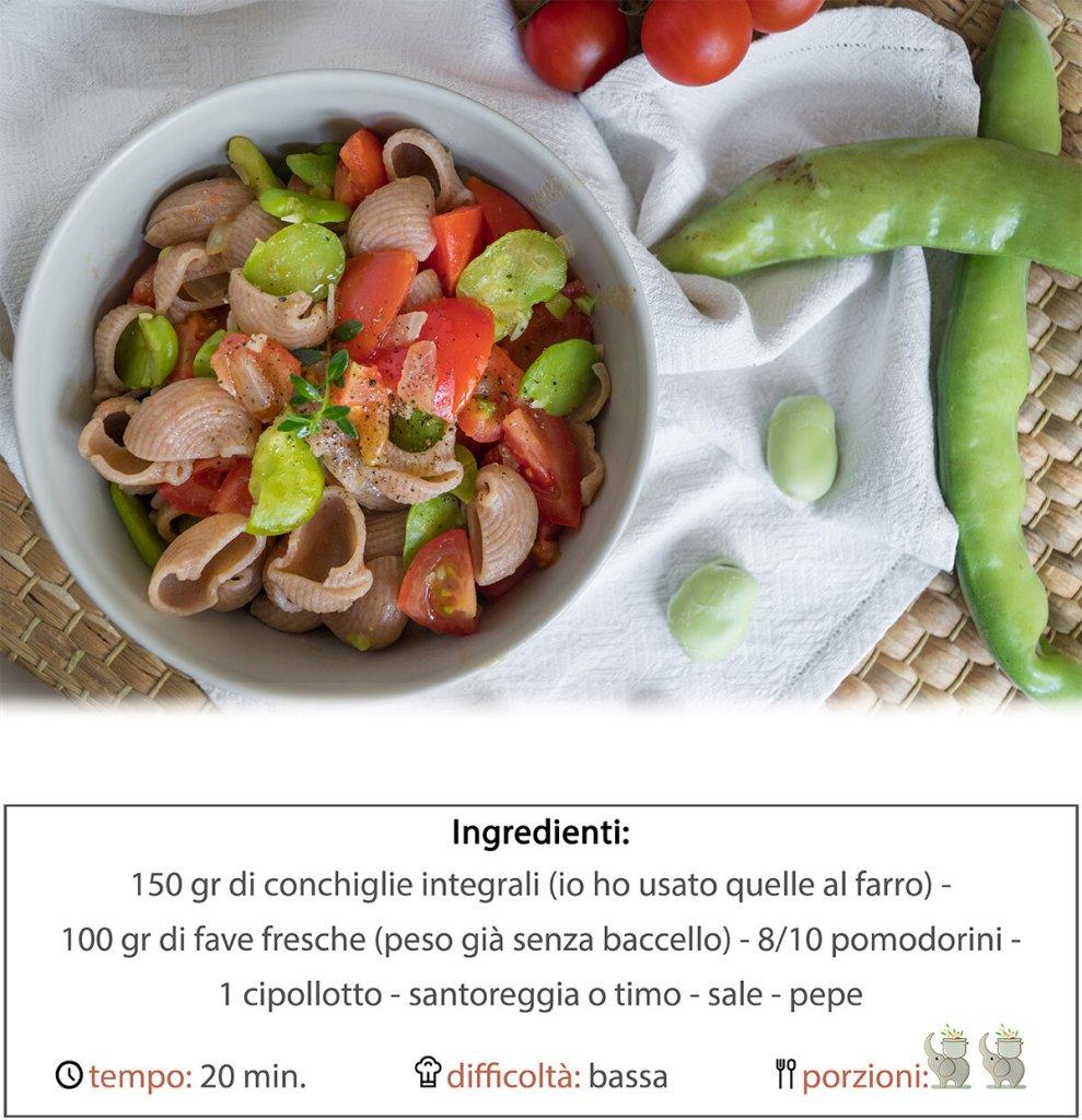 Pasta di farro con fave fresche, pomodorini ed erbe aromatiche