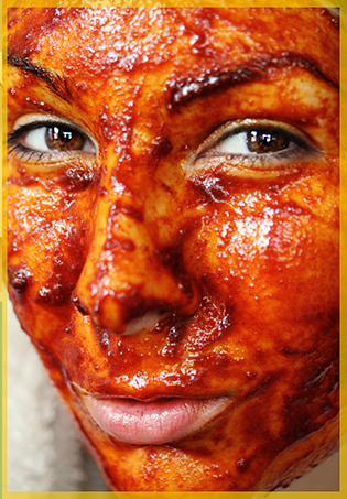 Anti-wrinkle facial looks like blood!