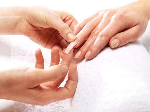 Apply acrylic nail tip
