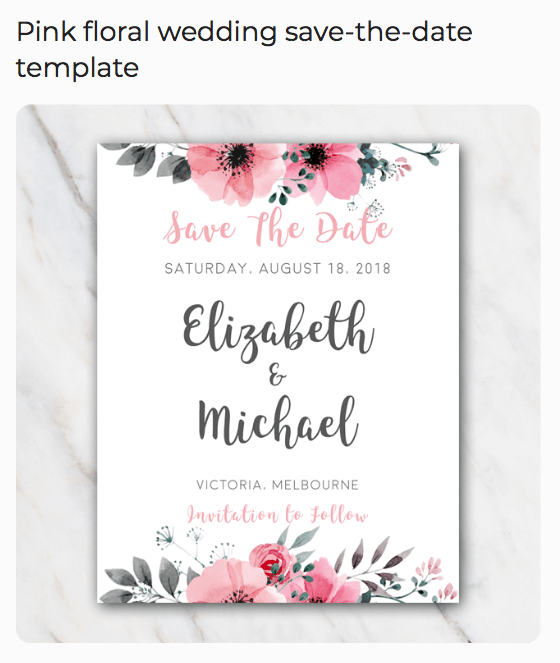 free Pink floral wedding save-the-date template