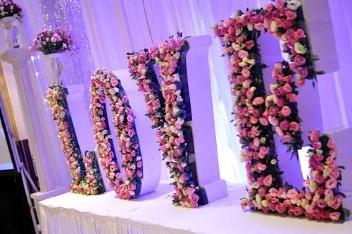 flower letters spelling love