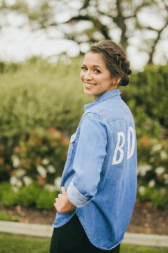 "Brides chambray top with decal on back that says ""Bride"""