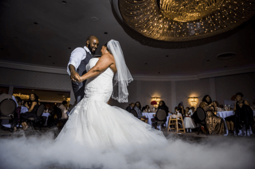 Dancing on a cloud at a wedding