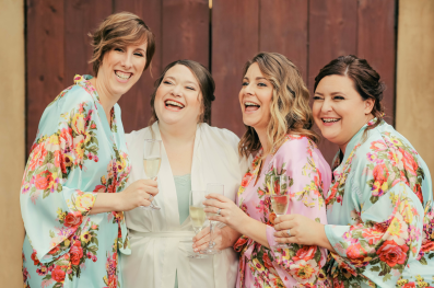 Bridal party in tropical robes
