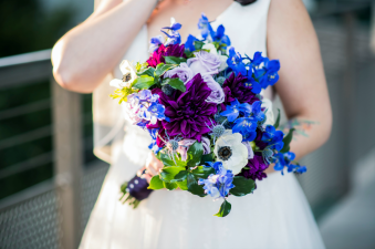 Purple and blue, galaxy themed wedding bouquet