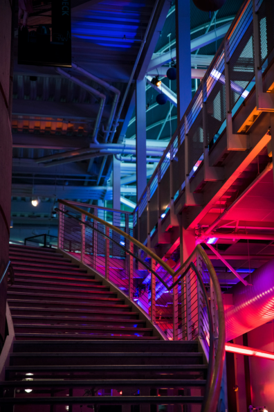 Red and blue illuminated staircase
