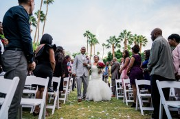 Bride walking down aisle, Palm Springs