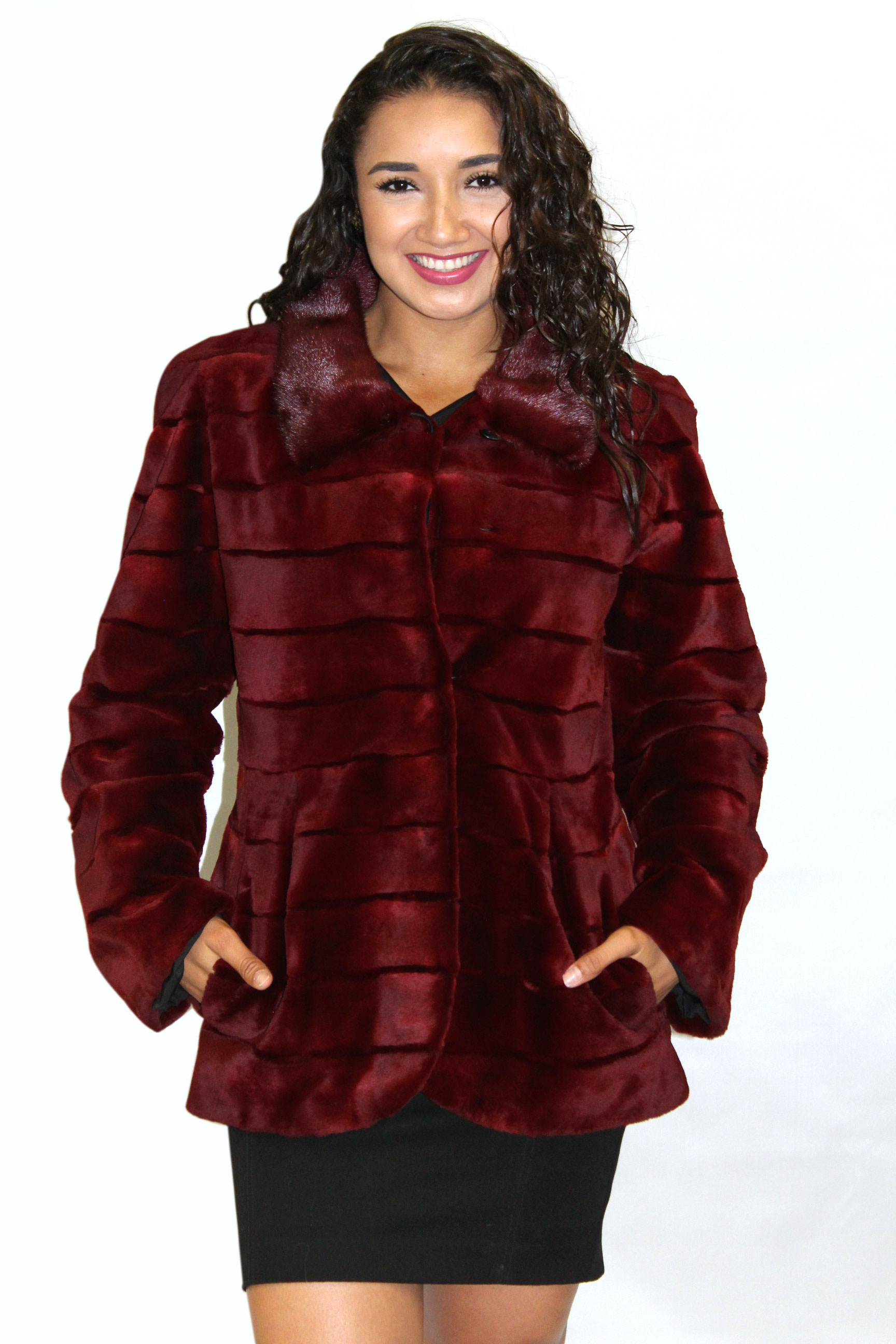 98f8a4bb1 Deep Red Sheared Mink Jacket with Long Hair Mink -