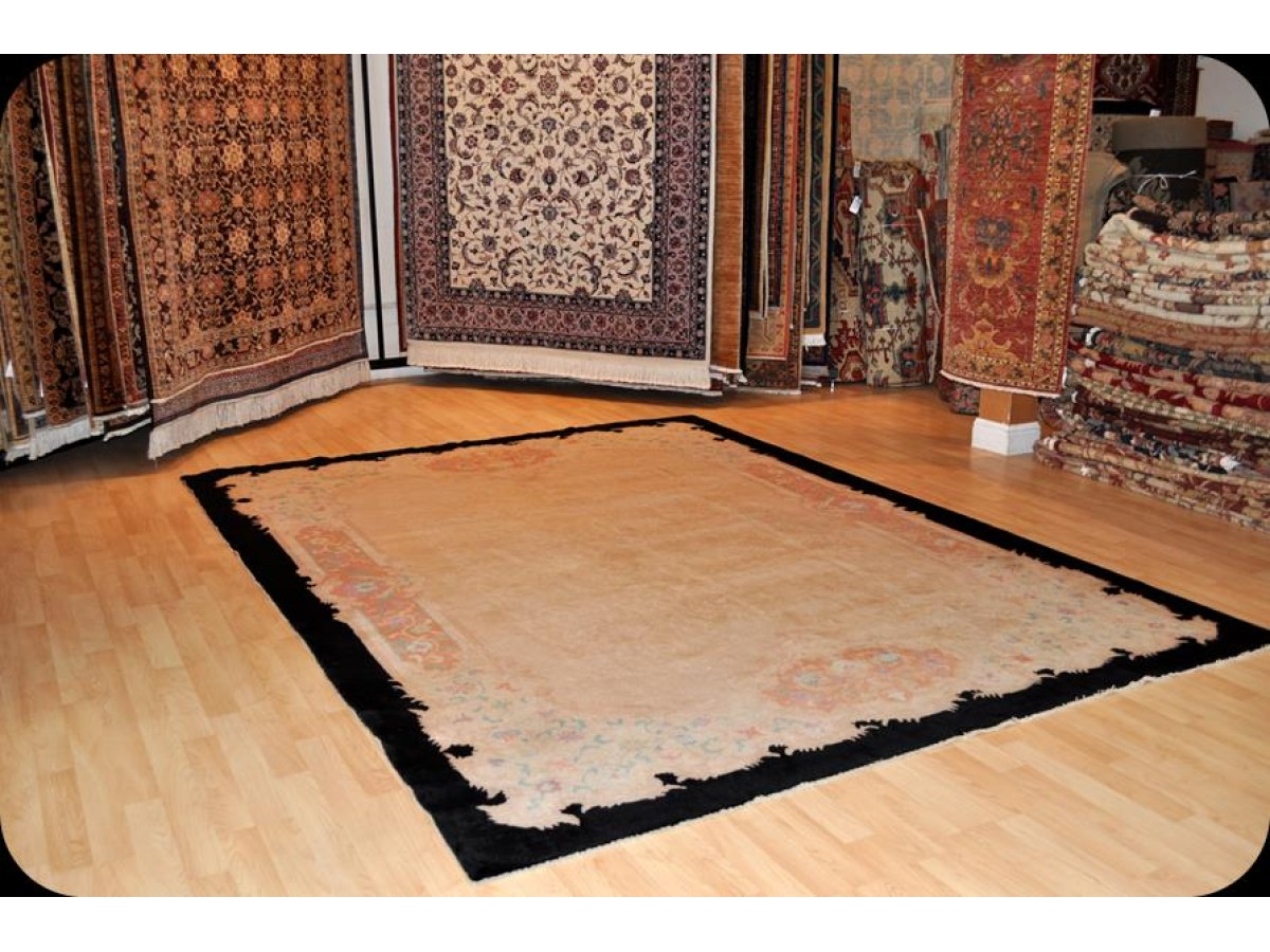 Ancient Elegant Chinese At Deco Rug with Beige Background